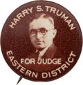 "Political:Pinback Buttons (1896-present), Harry S Truman: Key 7/8"" Eastern District Judge Button...."