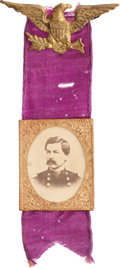Political:Ferrotypes / Photo Badges (pre-1896), George B. McClellan: Impressive Large 1864 Photo Badge....