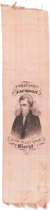 """Political:Ribbons & Badges, Andrew Jackson: Perhaps the Best Ribbon Variety for our Seventh President, """"President Jackson Our Welcome Guest.""""..."""