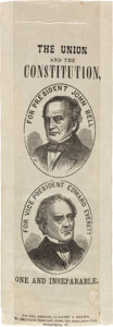 Political:Ribbons & Badges, Bell & Everett: An 1860 Jugate Silk Campaign Ribbon, the Mate to the Lincoln & Hamlin Version also Appearing in this Auction....