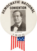 "Political:Pinback Buttons (1896-present), William Jennings Bryan: Awesome 3½"" 1900-dated Button from theDemocratic National Convention...."