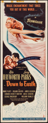 "Down to Earth (Columbia, 1947). Insert (14"" X 36""). Musical"