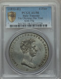 Italy, Italy: Tuscany. Leopold II 4 Fiorini tin Obverse Die Trial ND(1833-1841) AU58 PCGS,...