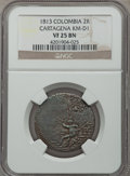 Colombia, Colombia: Cartagena 2 Reales 1813 VF25 Brown NGC,...