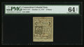 Colonial Notes:Connecticut, Uncancelled Connecticut October 11, 1777 5d PMG Choice Uncirculated64 Net.. ...