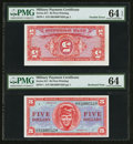 Military Payment Certificates:Series 611, Double Error Inverted Back and Misaligned Underprint Series 611 $5 PMG Choice Uncirculated 64 EPQ.. ...