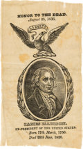 Political:Ribbons & Badges, James Madison: An 1836 Silk Mourning Ribbon for the Fourth U.S. President....