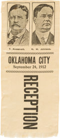 Political:Ribbons & Badges, Roosevelt & Johnson: Very Rare Jugate Silk Ribbon from an Oklahoma One-day Event....