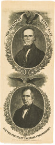 Political:Ribbons & Badges, Clay & Frelinghuysen: Imposing Large 1844 Jugate Silk Ribbon....