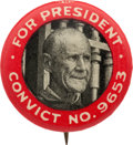 "Political:Pinback Buttons (1896-present), Eugene V. Debs: Classic 1920 ""Convict Button.""..."