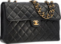 "Luxury Accessories:Accessories, Chanel Black Quilted Lambskin Leather Jumbo Single Flap Bag withGold Hardware. Very Good Condition. 12"" Width x 8""He..."