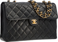 Chanel Black Quilted Lambskin Leather Jumbo Single Flap Bag with Gold Hardware Very Good Condition <