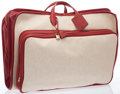 "Luxury Accessories:Travel/Trunks, Hermes Rouge Garance Clemence Leather & Toile Victoria GarmentBag with Gold Hardware. Very Good Condition. 24"" Width..."