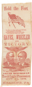 """Political:Ribbons & Badges, Hayes & Wheeler: Graphic """"Hold the Fort"""" Jugate Ribbon...."""