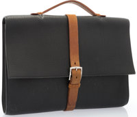Hermes Black Fjord & Natural Bridle Etrivière II Briefcase Bag with Palladium Hardware Very Good Condition&am...