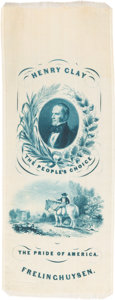 Political:Ribbons & Badges, Henry Clay: Blue Silk Ribbon with Great Design....