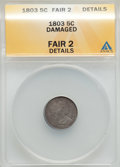 Early Half Dimes: , 1803 H10C Large 8 -- Damaged -- ANACS. Fair 2 Details. NGC Census:(0/40). PCGS Population (1/94). Mintage: 37,850. Numisme...