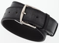 "Luxury Accessories:Accessories, Hermes 70cm Distressed Black Saddle Leather Etriviere Belt withPalladium Hardware . Excellent Condition . 1.5"" Width..."
