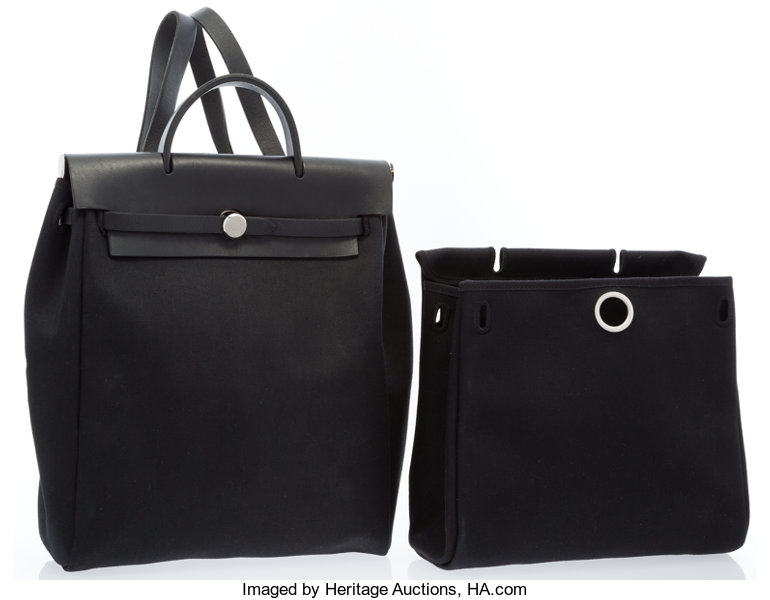 082f406a1 ... Luxury Accessories:Bags, Hermes Black Vache Leather & Canvas Herbag  a Dos Backpack ...