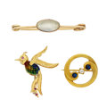 Estate Jewelry:Brooches - Pins, Multi-Stone, Diamond, Gold Brooches. ... (Total: 3 Items)