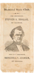 Political:Ribbons & Badges, Stephen A. Douglas: A Great, Probably Unique, 1860 Silk Campaign Ribbon for the Candidates Who Defeated Lincoln in the 1858 Il...