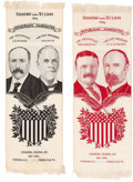 Political:Ribbons & Badges, Parker & Davis and Roosevelt & Fairbanks: A Matched Pair of Large Woven 1904 Jugate Ribbons....