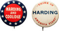 Political:Pinback Buttons (1896-present), Warren G. Harding: Scarce Name and Slogan Pins.... (Total: 2 Items)
