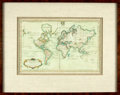 Books:Maps & Atlases, [Maps]. [Nicolas Bellin]. Copper Engraved Map with Hand-ColoringEntitled, Carte Reduite du Globe Terrestre. [N....