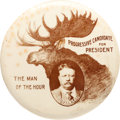 "Political:Pinback Buttons (1896-present), Theodore Roosevelt: Fantastic 1912 Bull Moose Design in Massive 21/8"" Size...."
