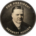 """Political:Pinback Buttons (1896-present), Herbert Hoover: Imposing Large 4"""" Celluloid...."""