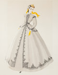 "Movie/TV Memorabilia:Costumes, A Vivien Leigh Costume Design Sketch by Walter Plunkett from ""Gone With The Wind.""..."