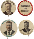 """Political:Pinback Buttons (1896-present), Theodore Roosevelt: A Group of Four Scarce 7/8"""" to 1"""" Button varieties...."""