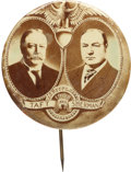 """Political:Pinback Buttons (1896-present), Taft & Sherman: Largest 2 1/8"""" Version of This Beautiful 1908-dated Jugate...."""