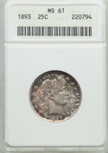 Barber Quarters: , 1893 25C MS61 ANACS. NGC Census: (15/200). PCGS Population (13/245). Mintage: 5,444,815. Numismedia Wsl. Price for problem ...