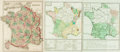 Books:Maps & Atlases, [Maps]. Group of Three Maps with Hand-Coloring Depicting France. Various publisher's and dates. ...