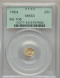 California Fractional Gold: , 1854 25C Liberty Octagonal 25 Cents, BG-108, Low R.4, MS63 PCGS.PCGS Population (33/24). NGC Census: (13/2). ...