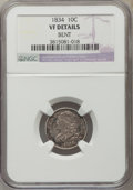 Bust Dimes, 1834 10C Small 4 -- Bent -- NGC Details. VF. NGC Census: (7/314).PCGS Population (0/199). Mintage: 635,000. Numismedia Wsl...