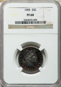 Proof Barber Quarters: , 1905 25C PR60 NGC. NGC Census: (1/231). PCGS Population (5/270). Mintage: 727. Numismedia Wsl. Price for problem free NGC/P...