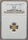 California Fractional Gold: , 1871 50C Liberty Octagonal 50 Cents, BG-927, Low R.5, AU58 NGC. NGCCensus: (4/4). PCGS Population (5/28). ...