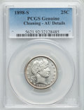 Barber Quarters: , 1898-S 25C -- Cleaning -- PCGS Genuine. AU Details. NGC Census: (2/52). PCGS Population (14/63). Mintage: 1,020,592. Numism...
