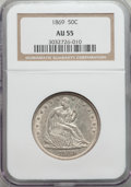 Seated Half Dollars: , 1869 50C AU55 NGC. NGC Census: (13/62). PCGS Population (34/80). Mintage: 795,300. Numismedia Wsl. Price for problem free N...