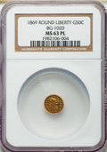 California Fractional Gold: , 1869 50C Liberty Round 50 Cents, BG-1020, Low R.4, MS63 ProoflikeNGC. NGC Census: (4/0). ...