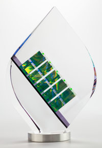 Jack Storms (American, b. 1970) Tier Drop Optical lead glass, dichroic glass, aluminum swivel base