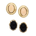 Estate Jewelry:Earrings, Coral, Black Onyx, Gold Earrings. ... (Total: 2 Items)