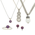Estate Jewelry:Necklaces, Diamond, Cultured Pearl, White Gold Jewelry. ...