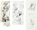 Original Comic Art:Miscellaneous, John Buscema - Wolverine and Others Preliminary Sketch Original Art Group (Marvel, undated).... (Total: 6 Original Art)