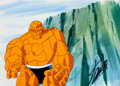 Animation Art:Production Cel, Fantastic Four The Thing Production Cel Signed by Stan Leeand Master Production Background Setup (Marvel/Saban, 1994)...(Total: 3 Items)