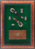 Western Expansion:Cowboy, Cased Pair of Engraved Silver Bohlin Buckle Sets with Money ClipsCirca 1980. . ...