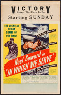 "Movie Posters:War, In Which We Serve (United Artists, 1942). Window Card (14"" X 22"").War.. ..."