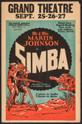 "Movie Posters:Documentary, Simba: The King of the Beasts (Martin Johnson African Expedition Corp., 1928). Window Card (14.25"" X 21.75""). Documentary.. ..."